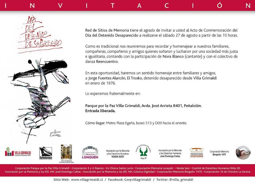 Invitación Acto Conmemorativo Día del Detenido Desaparecido