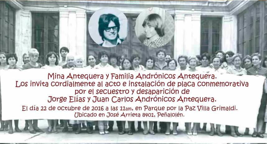 Invitacion al acto conmemorativo por los hermanos Andrónicos Antequera