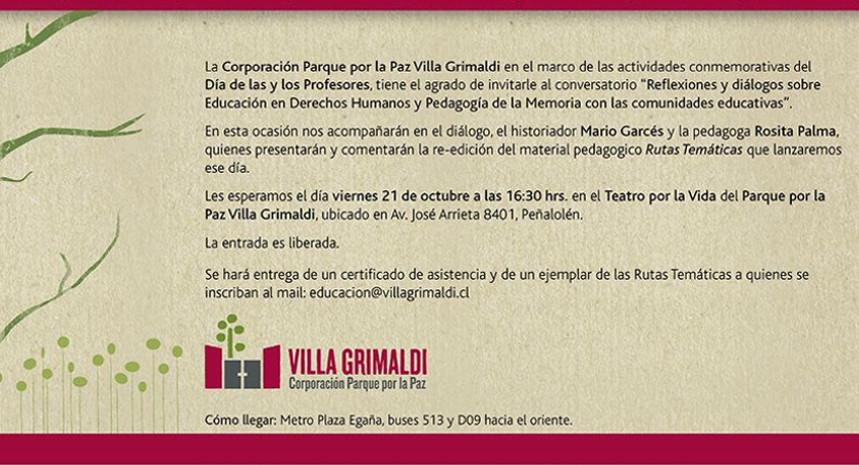 Invitación: Día de las y los Profesores 2016 en Villa Grimaldi
